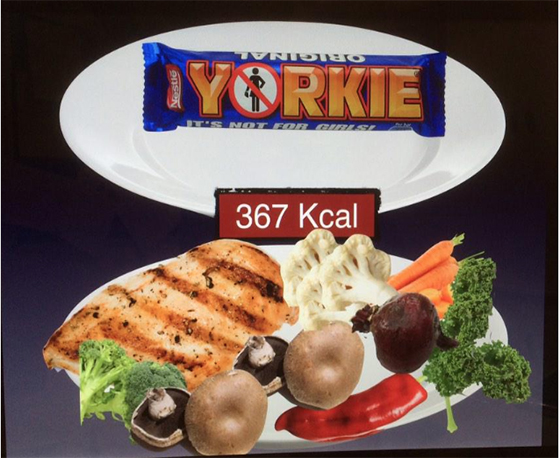 I love this picture that Tilly showed us in her presentation - it shows the amount of healthy food you can eat to get the same calories that are in one Yorkie bar. Hard to believe isn't it?!