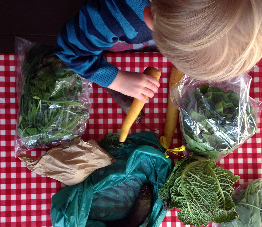 Little S always loves unpacking our vegetables - but will he eat them?