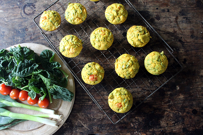 Spinach and cornmeal breakfast muffins