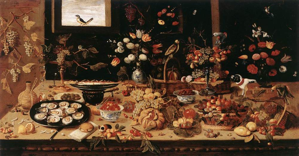 Jan van Kessel  - Still-Life.  second half of 17 th  century -   oil  on copper -  Doria Pamphilj Gallery