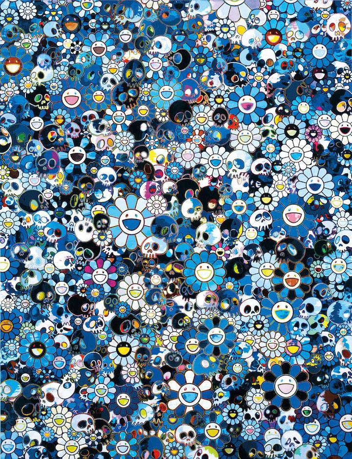 Takashi Murakami     -  Ble flowers & Skulls, 2012