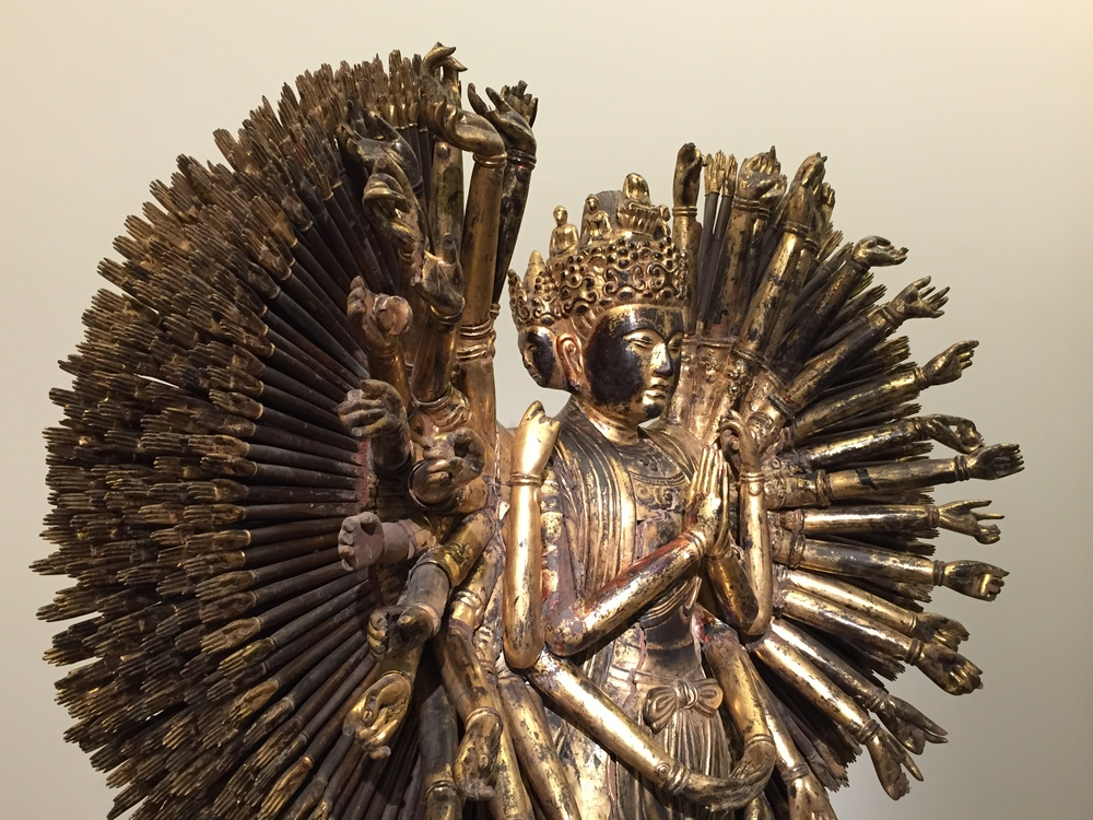 Statue of Avalokiteśvara Bodhisattva (Quán Thế Âm) of the Lê or Nguyễn Dynasty -   gilded wood and lacquer -  between circa 1750 and circa 1850-   Musee Guimet, Paris