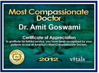 Compassionate Doctor Award 2011, 2012 - Amit Goswami, MD