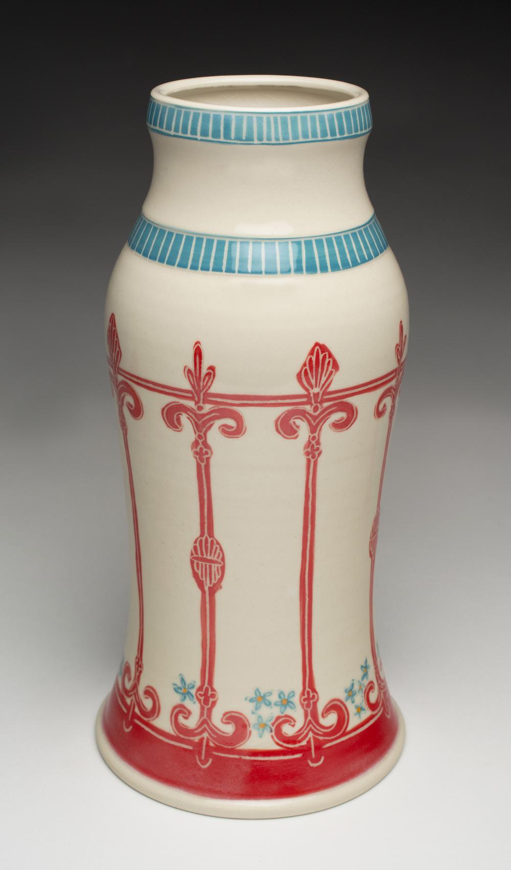 Red Fence Vase