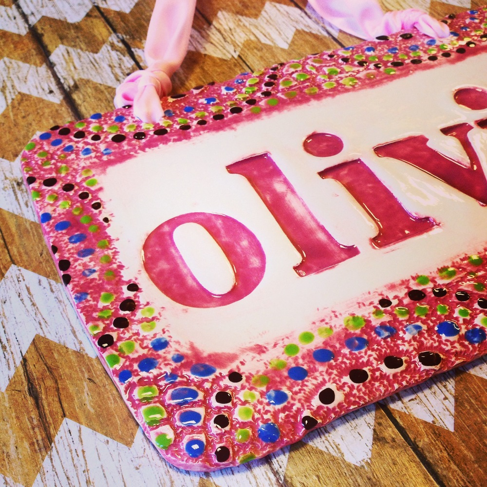 Our name sign for the nursery in our popular pink theme.