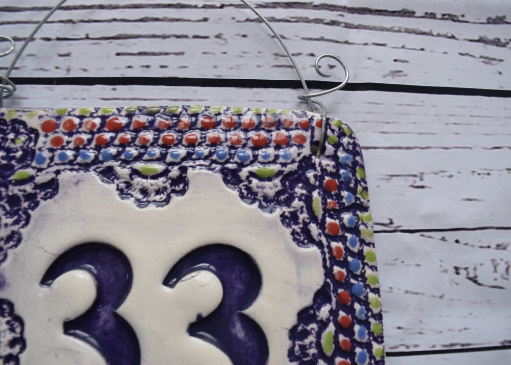 Purple House Number Tile Detail