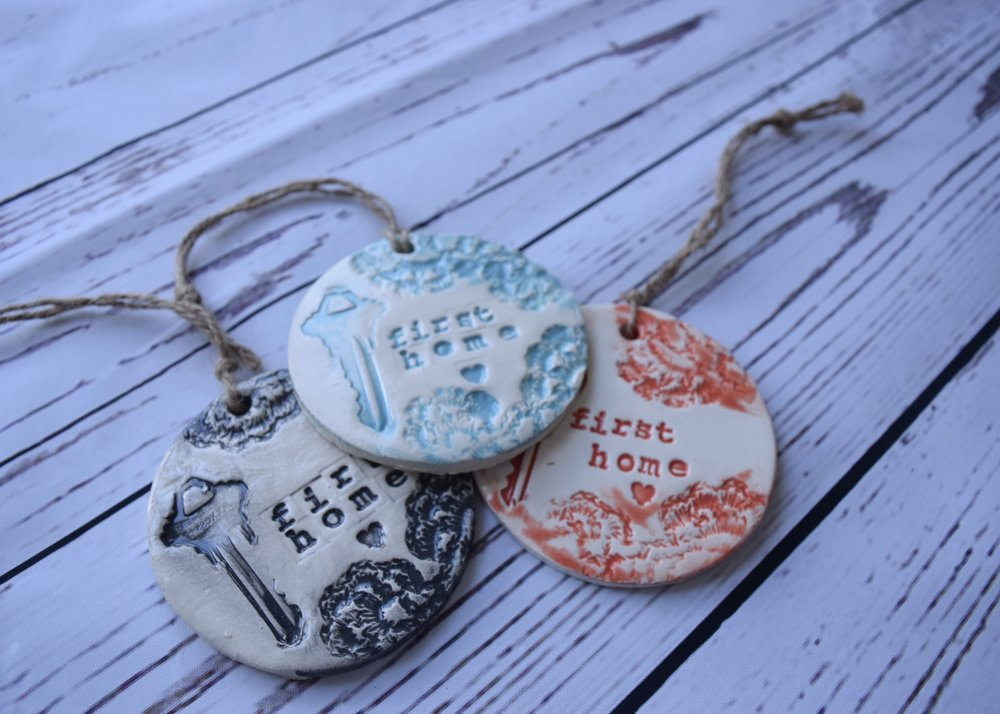 First home, First apartment and simple 'home' ornaments make great housewarming gifts or realtor closing gifts! Display year round or at Christmas time seasonally.