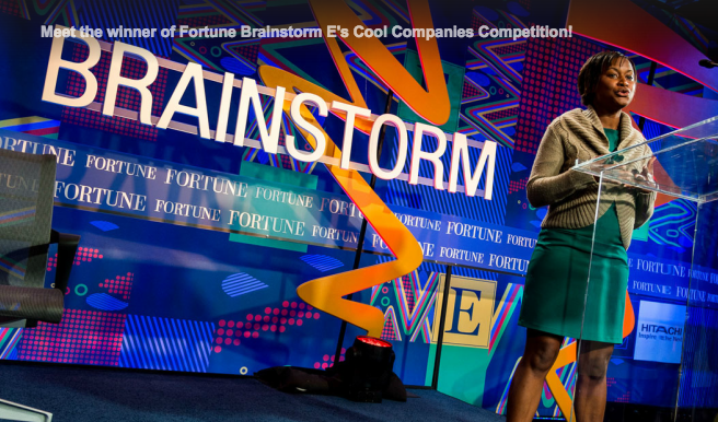 Cyclotron Road project lead Etosha Cave pitching at the Fortune Brainstorm-E conference in Austin, TX