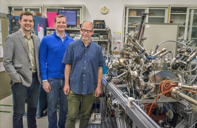 Cyclotron Road Project Leads Dan Riley (left) and Jared Schwede (middle) with collaborator Andreas Schmid (right) next to the Spin Polarized Low Energy Electron Microscope (SPLEEM) at the National Center for Electron Microscopy, part of Berkeley Lab's  Molecular Foundry , a Department of Energy Office of Science User Facility.