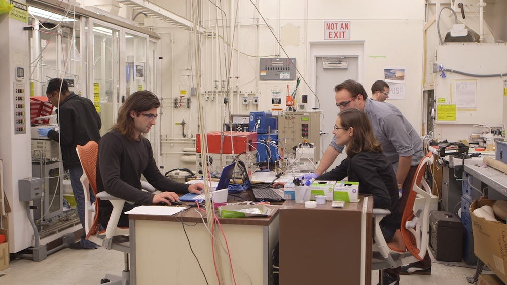 The Opus 12 team conducting experiments at Berkeley Lab