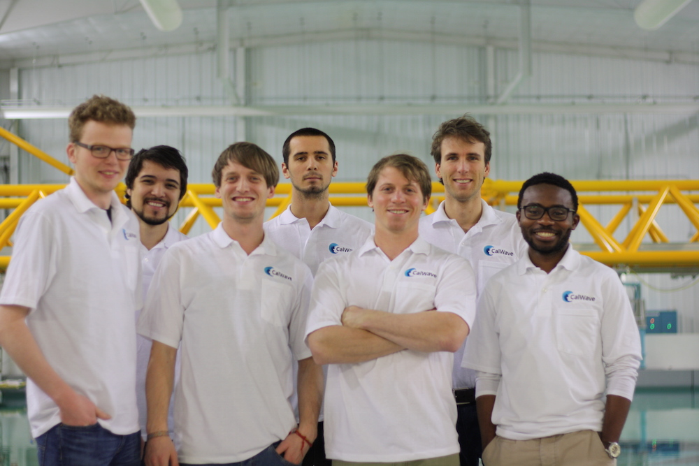 The CalWave team at the University of Iowa during tank testing for Gate 2 of the Wave Energy Prize