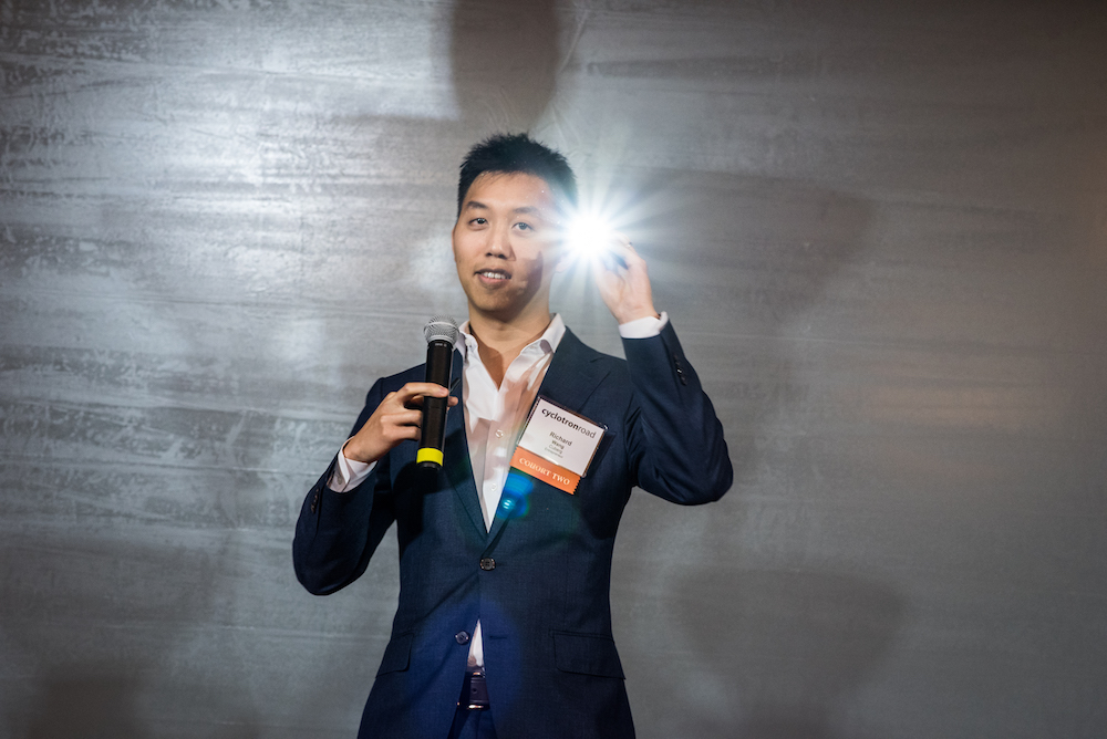 Cuberg cofounder Richard Wang showing off a flashlight powered by a prototype lithium metal battery.
