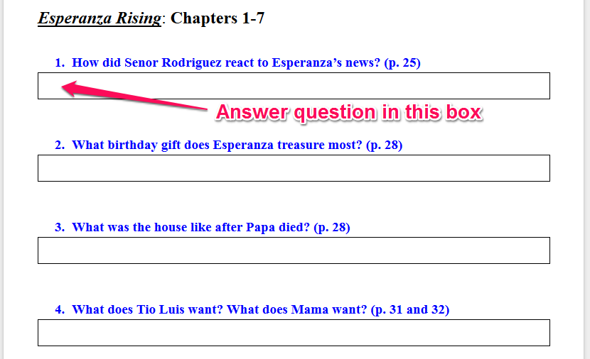 Esperanza Rising Worksheets Cockpito – Esperanza Rising Worksheets