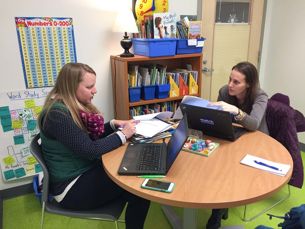 Lyneis meets with Jen Mullen, an assistant principal at Match Community Day.