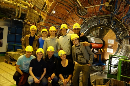 The trip students outside the Delphi Collider
