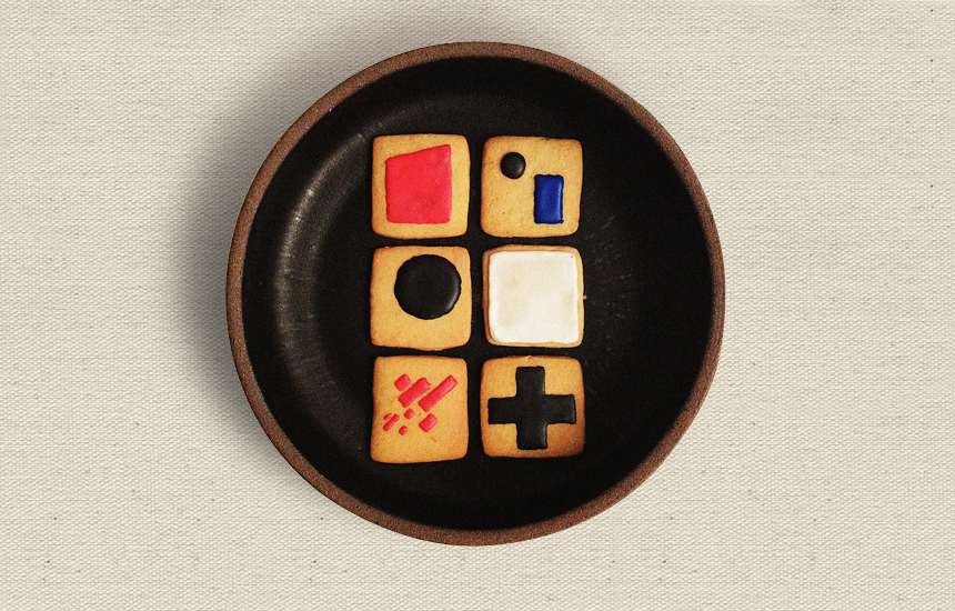 Kazimir Malevich Edition  Flour, eggs, butter, baking powder, sugar, lemon zest, lemon extract, meringue powder, salt, food coloring Each approximately 2 x 2 in 2012