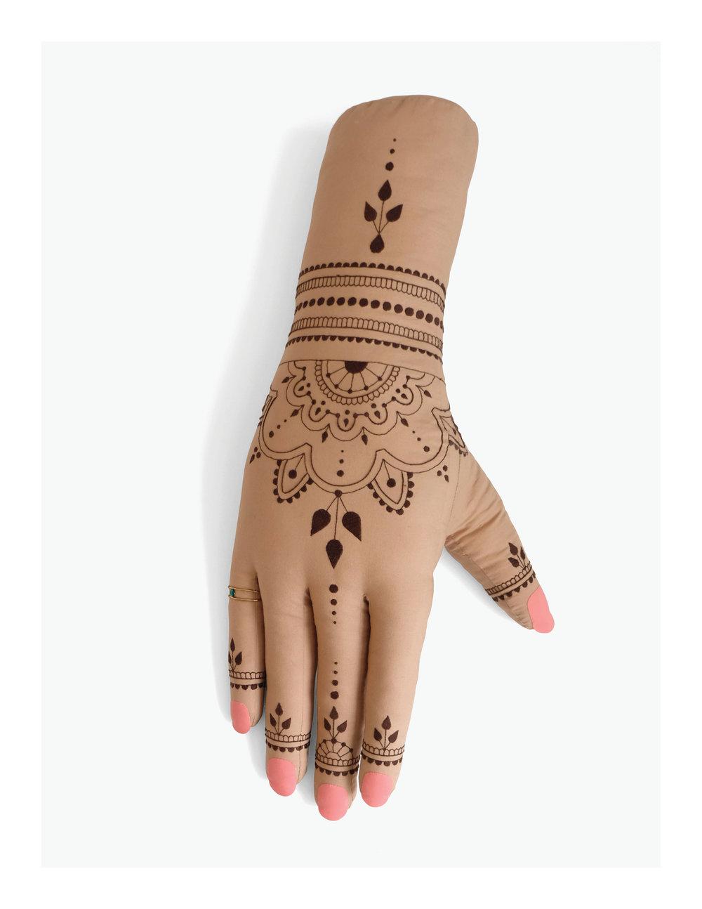 Henna, work in progress  Fiberfill, cotton cloth, embroidery floss, nylon cord, plastic rhinestone 36 x 18 x 6 in 2017