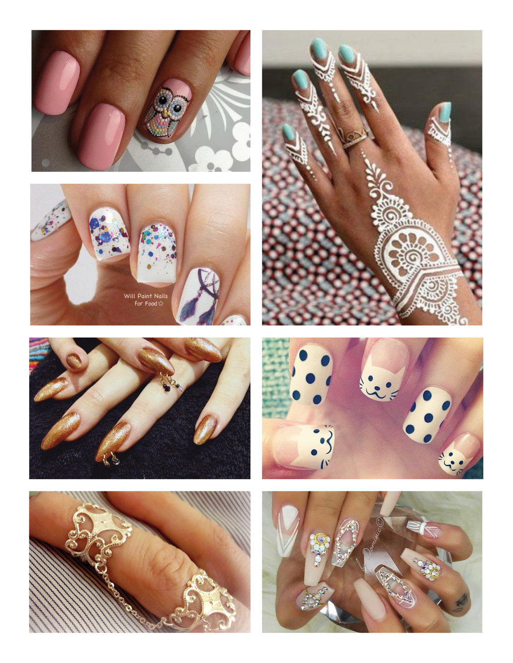 Inspiration  Shown here are just a few examples of nail art and ornamentation I intend to produce over the coming months.
