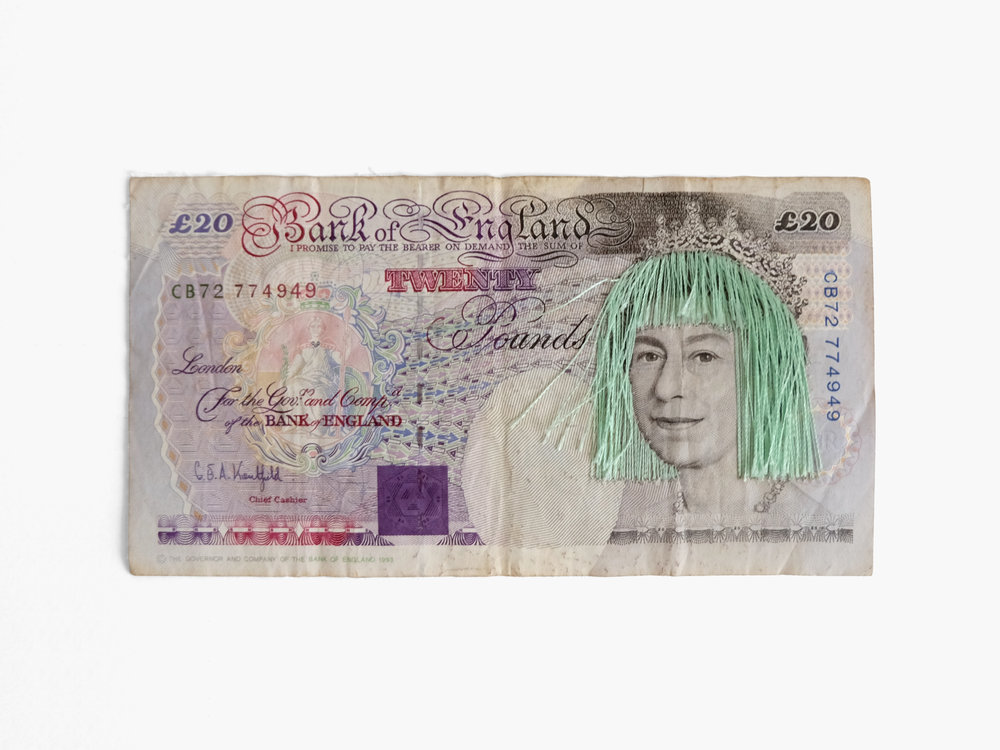 Liz  British banknote, embroidery floss 5.825 x 3.15 in 2016