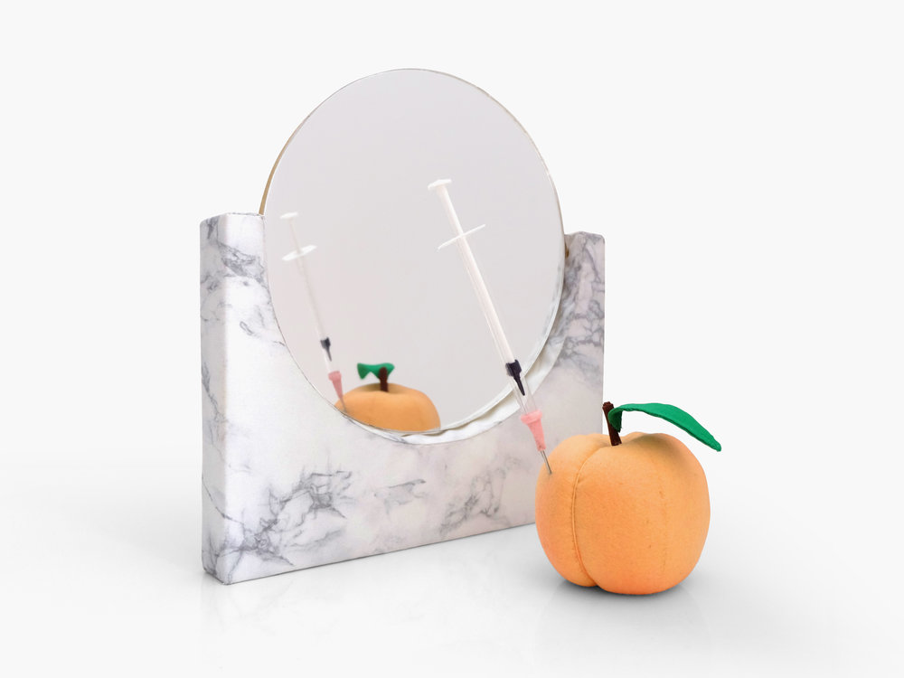 Pavlovian   Fiberfill, plastic pellets, basswood, armature wire, cotton cloth, felt, vinyl plexiglass mirror, ribbon, Approximately 10 x 10 x 10 in 2018
