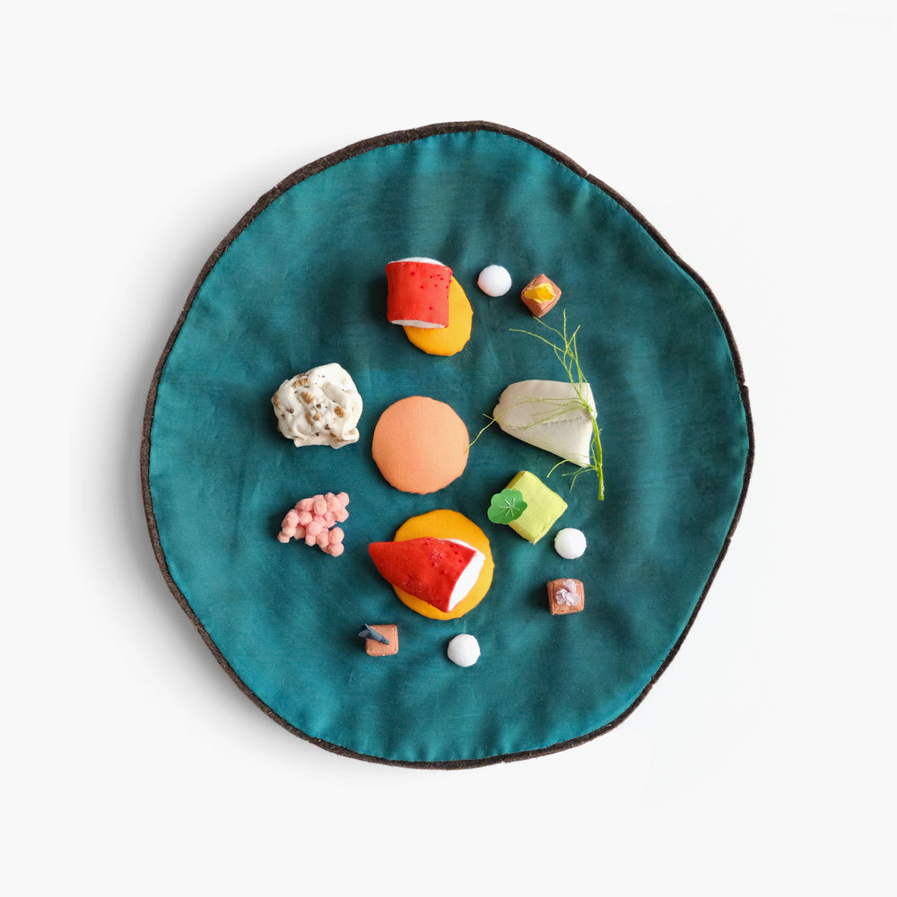 "Art and Science    ""Lobster, Curry, Earl Grey, Grapefruit"" from Alinea   Felt, fiberfill, cotton cloth, pom poms, embroidery floss 1.25 x 9 x 9 in 2014"
