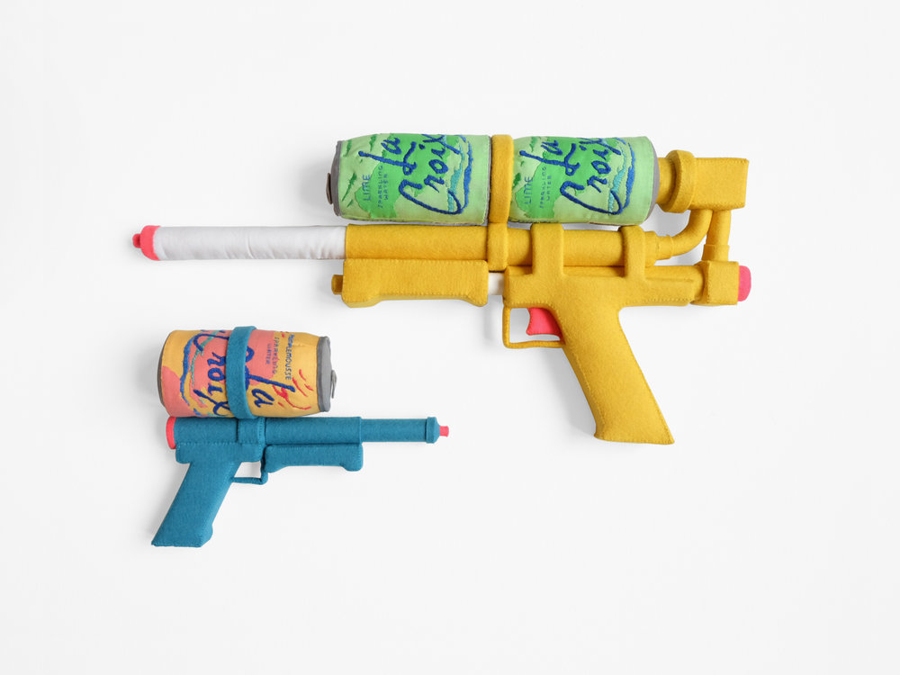 Mimi O Chun  Sparkling Soakers   Foam, wood, felt, cotton cloth, embroidery floss 19 x 9 x 2.5 in; 9.5 x 7 x 2.5 in 2018