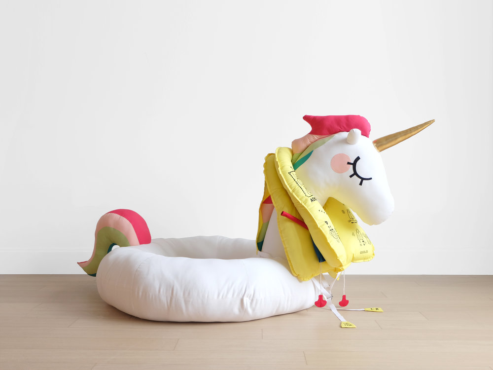 Save the Unicorns!  Foam, batting, fiberfill, hardwood dowel, felt, cotton cloth, elastane, embroidery floss, webbing, rope, metal belt parts Approximately 60 x 42 x 43 in 2018