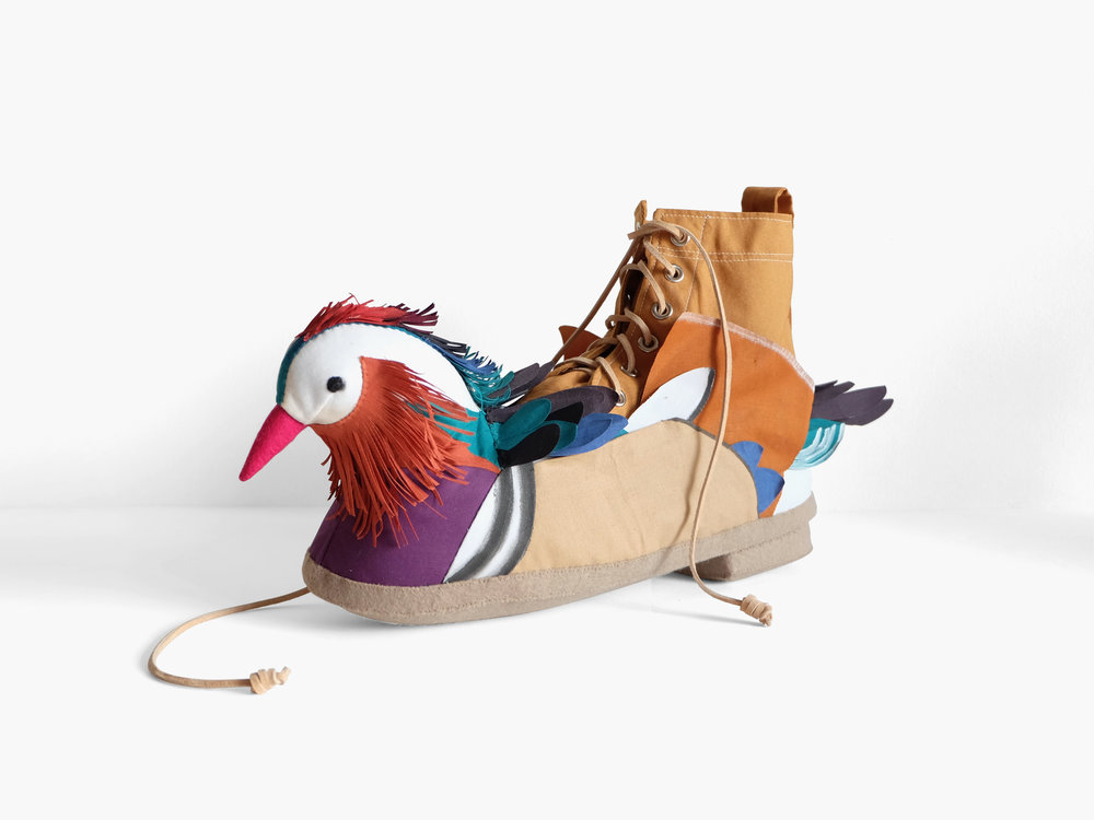 Mandarin Duck Boot   Fiberfill, felt, cotton cloth, FrayCheck, fabric paint, grommets, leather cord 17 x 8 x 4 in 2018