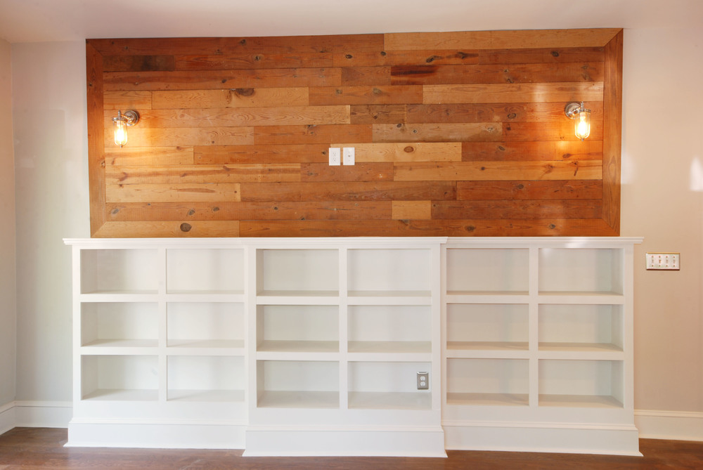 reclaimed wood accent wall via Drum Homes