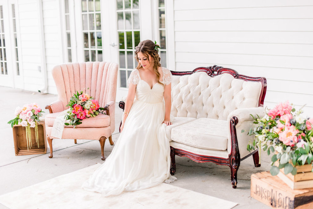 dusty blue and pink bridal inspiration shoot whimsical romantic ethereal wedding
