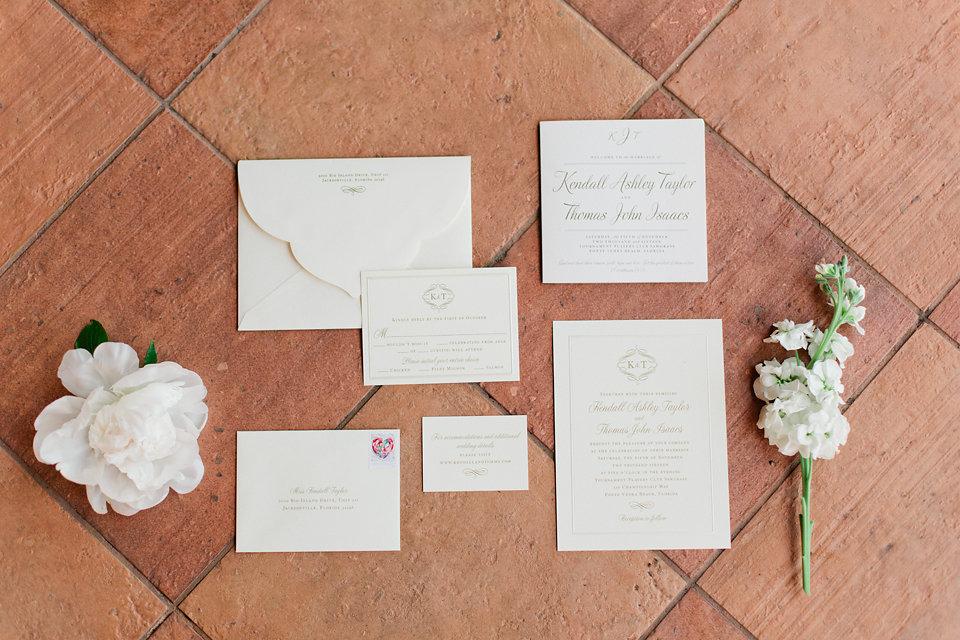 Elegant cream wedding invitation suite