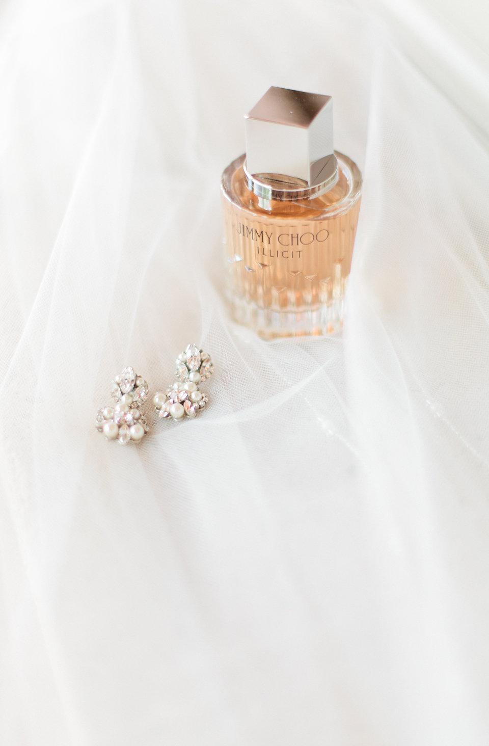 Wedding earrings & perfume