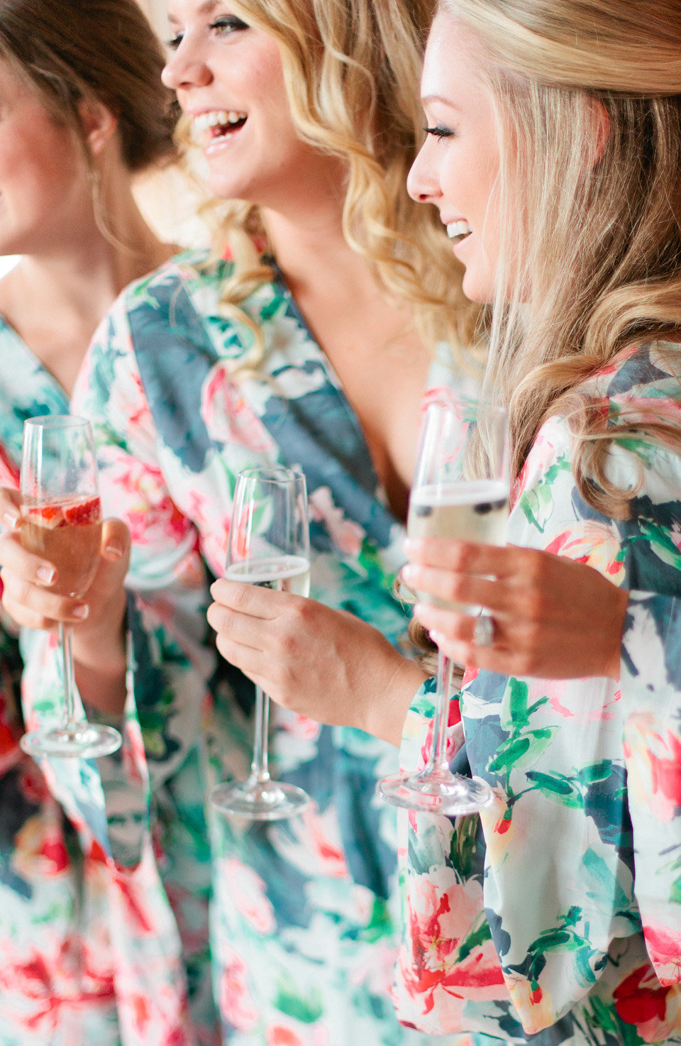 Blush, champagne & gold bridesmaid robes