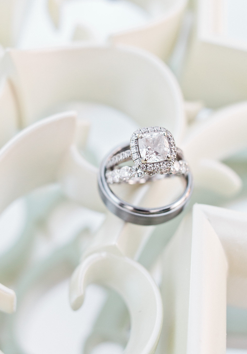 Diamond engagement ring and wedding bands