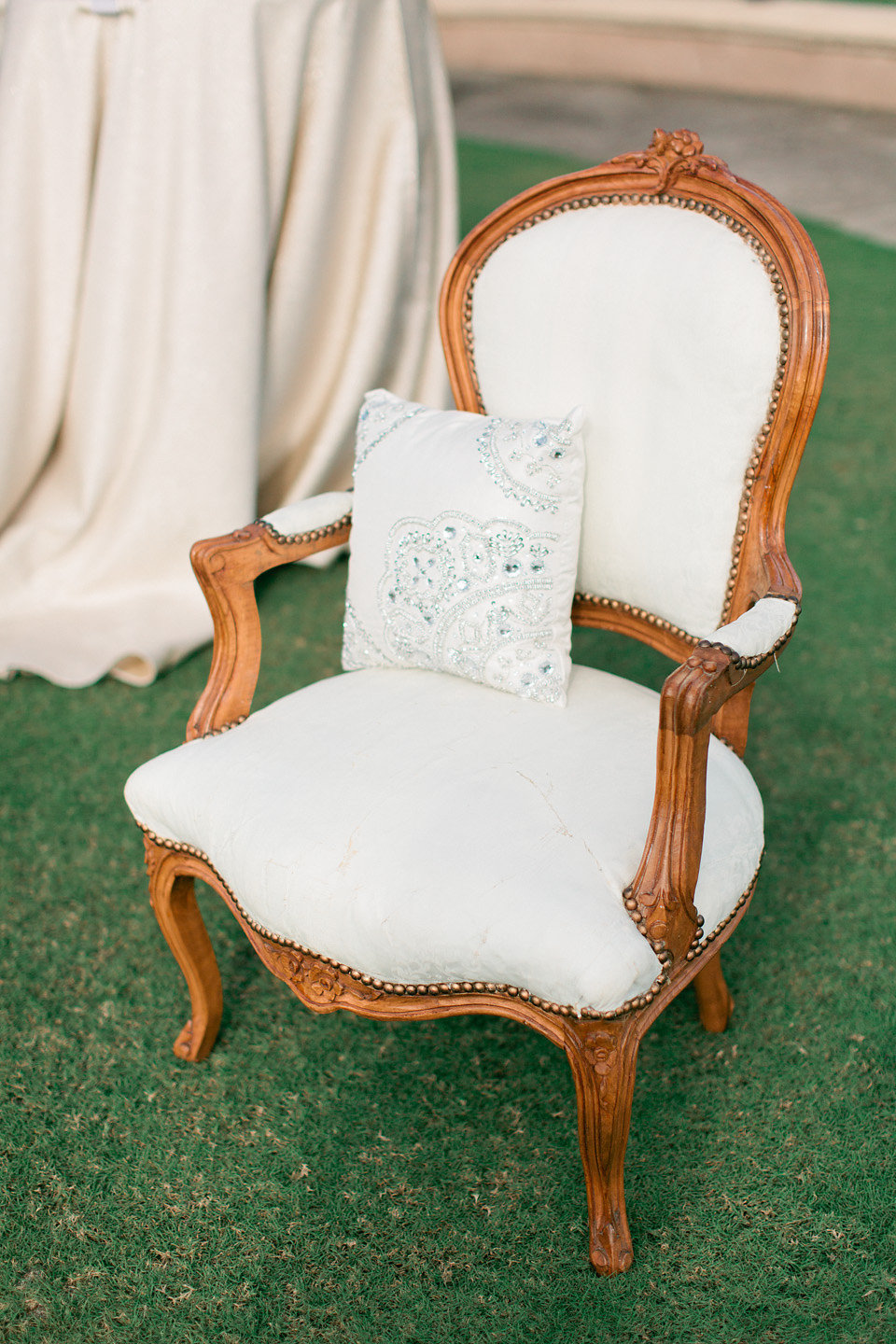 Vintage chic wedding styled furniture