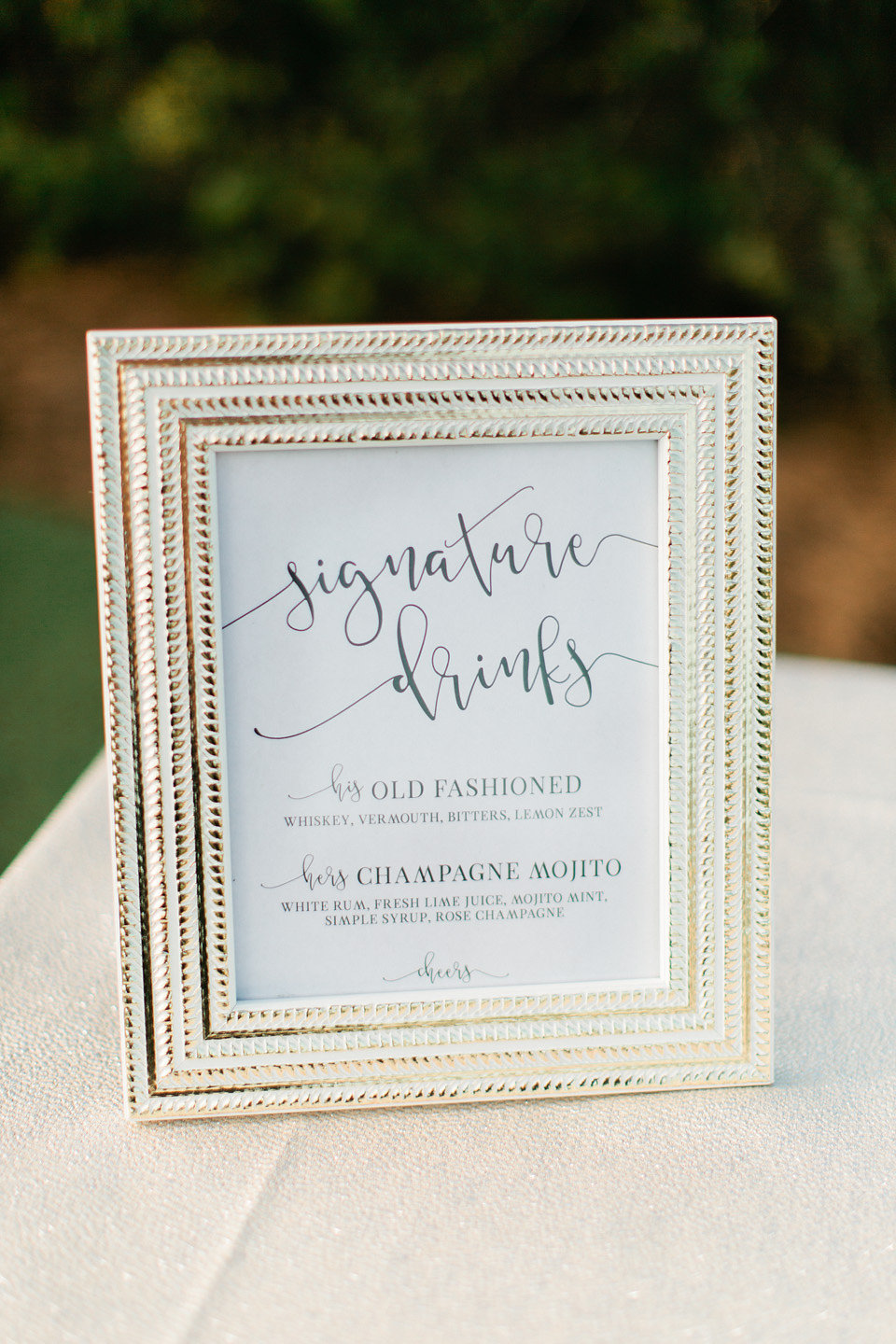 Old Fashioned Signature Drink Sign  Champagne Mojito Signature Drink Sign  Blush Wedding at TPC Sawgrass Wedding Ponte Vedra Beach  Jacksonville Wedding Planner Blue Ribbon Weddings  Jacksonville Wedding Photographer Debra Eby Photography  Wedding Ceremony & Reception at TPC Sawgrass Jacksonville