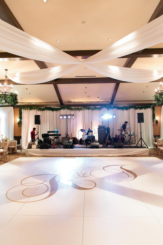 Monogrammed dance floor luxury reception
