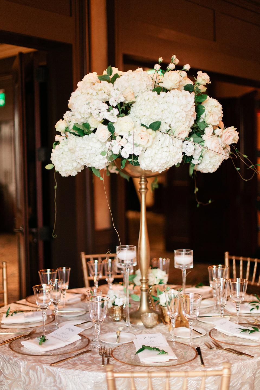 Blush roses, hydrangeas, eucalyptus reception centerpieces
