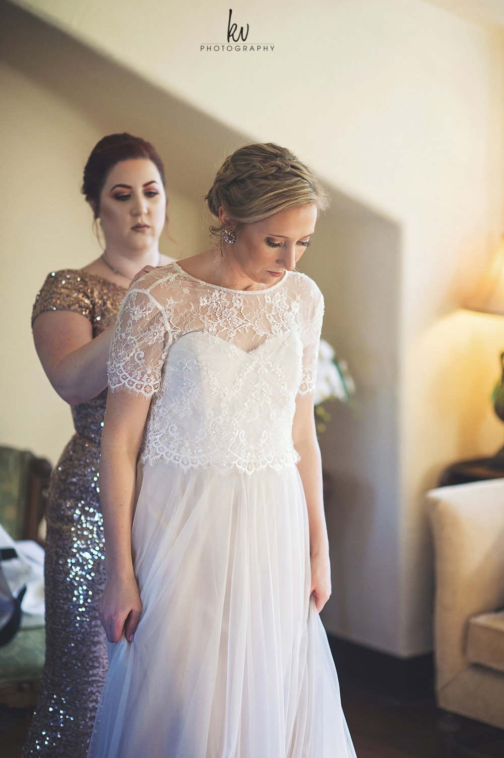 Classic lacy bridal gown, Casa Feliz Wedding