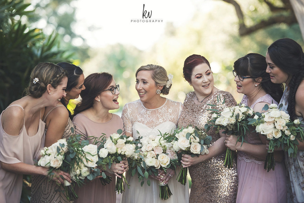 Bride and bridesmaids at Winter Park wedding