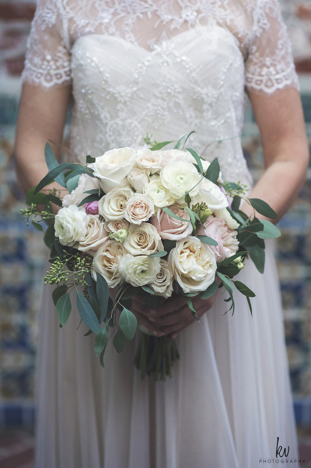 Bridal bouquet of blush and ivory garden roses