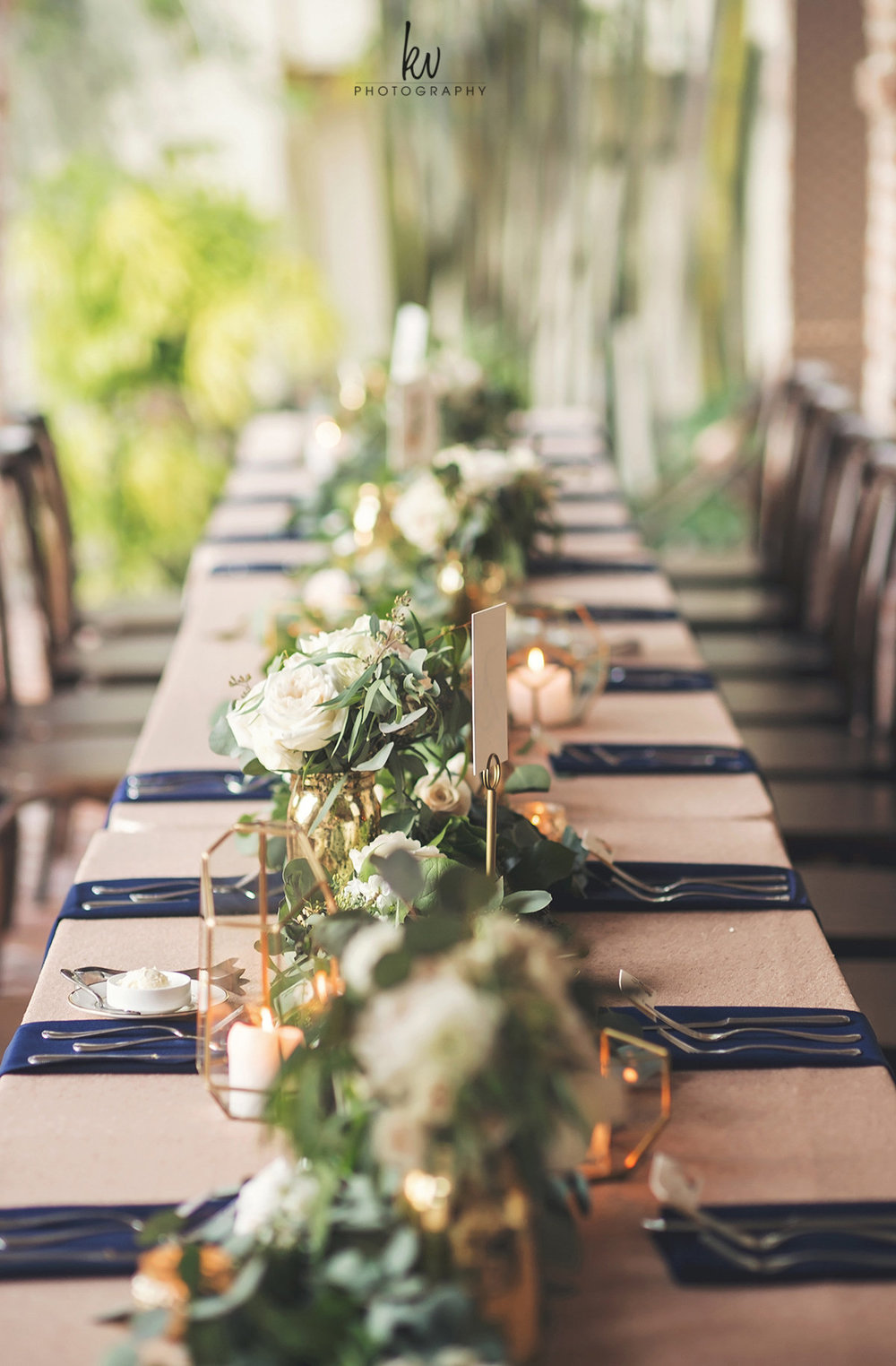 Banquet tables at Winter Park wedding reception