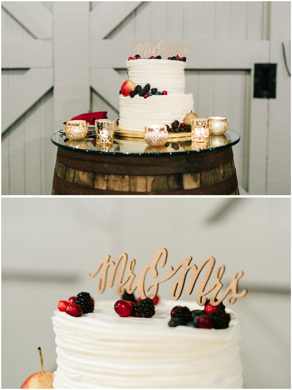 Custom wedding cake with fresh berries, topped with Mr. and Mrs.