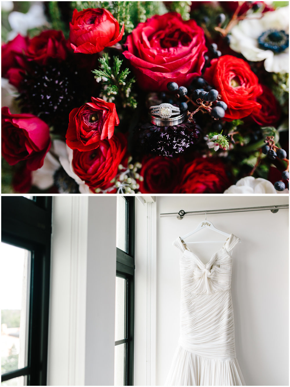 Gorgeous florals of deep red rannulus, anemones and greenery by Blue Ribbon Weddings