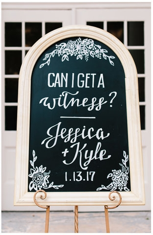"""Can I get a witness?"" Custom welcome sign"