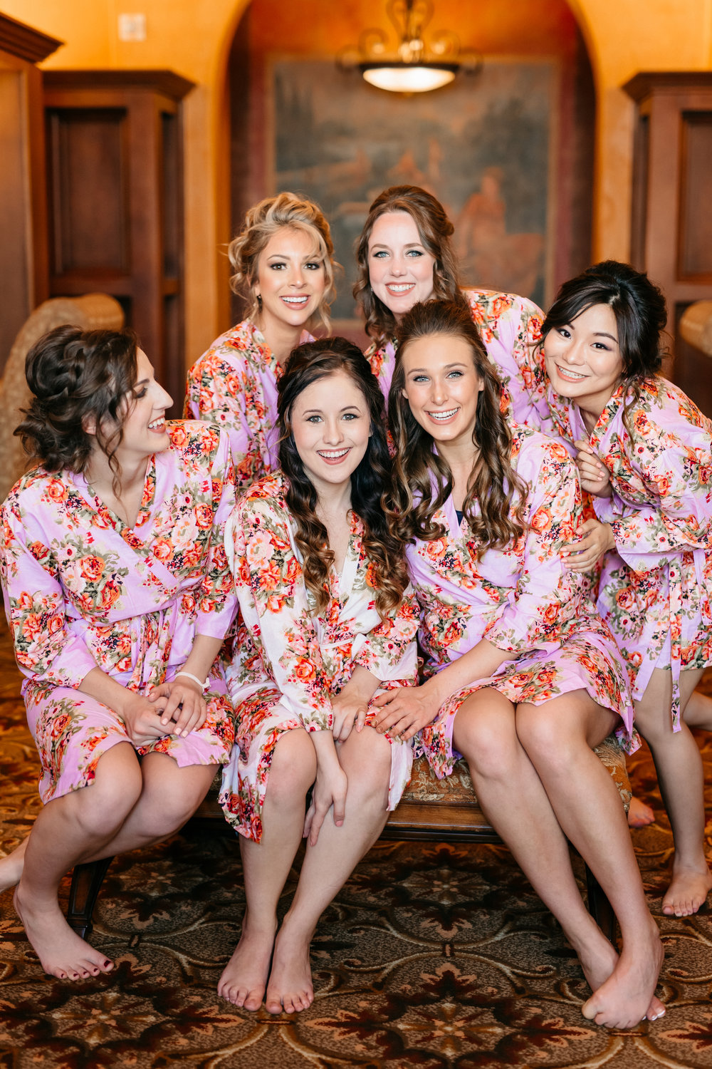 Sammy and her bridesmaids in silk robes, Orlando bride