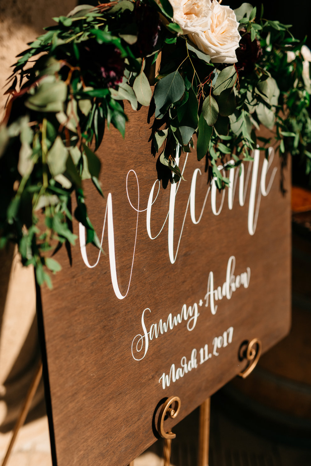 Wedding Welcome Calligraphy Signage with garlands