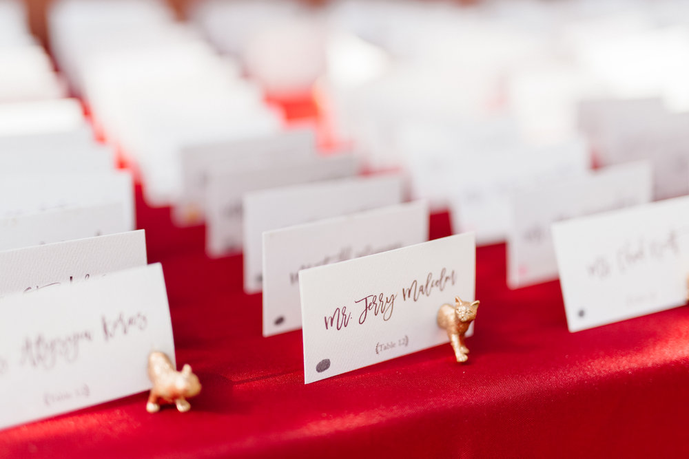 Guest escort cards with cute gold kittens, Wedding details