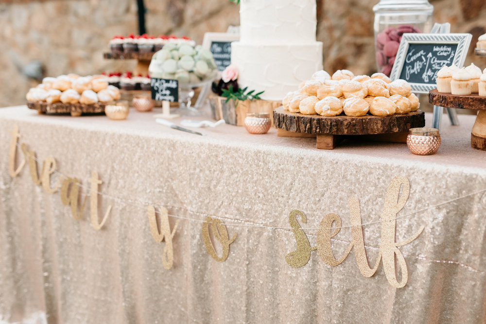 """Treat yo self"" dessert table, Bella Collina Wedding Reception"
