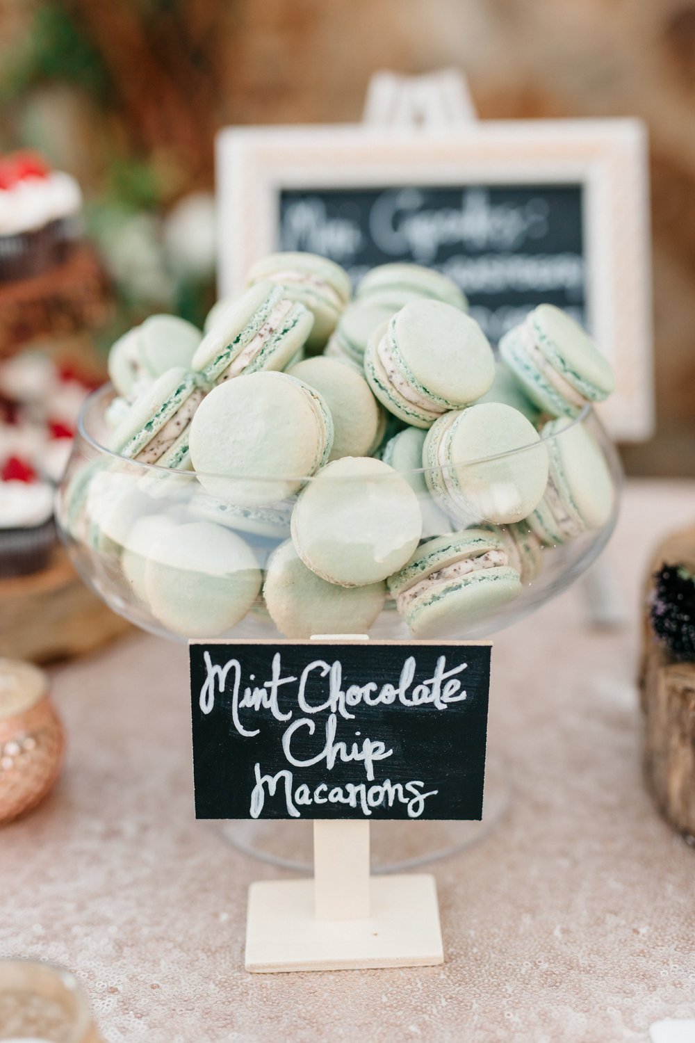 Mint Chocolate Chip Macarons, Wedding Reception Sweets